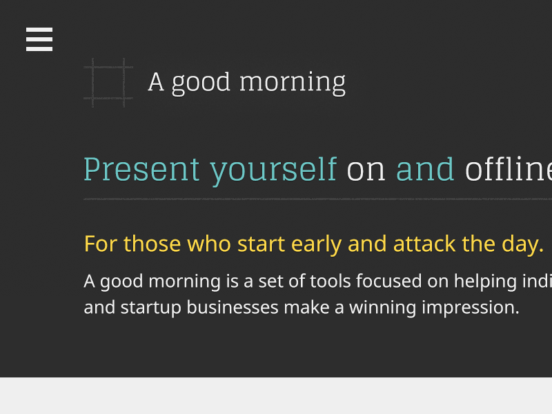 Screenshot of A good morning logo and home page design.