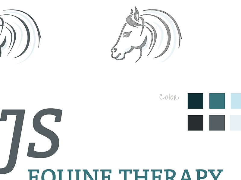 Screenshot of NJS Equine Therapy initial logo designs.