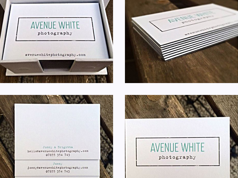 Photo of Avenue White Photography business card design.