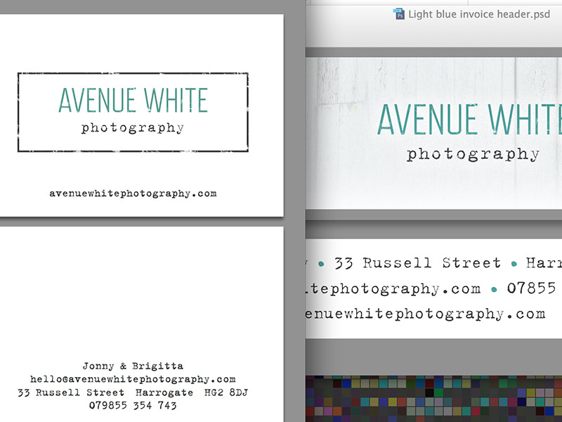 Screenshot of Avenue White Photography business card design.