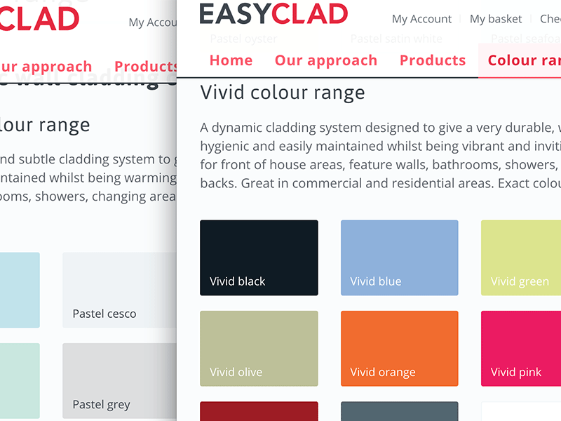EasyClad web design harrogate wall cladding colour range.
