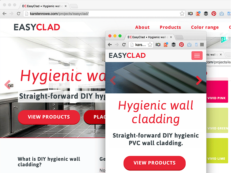 Screenshot of EasyClad web and mobile design.