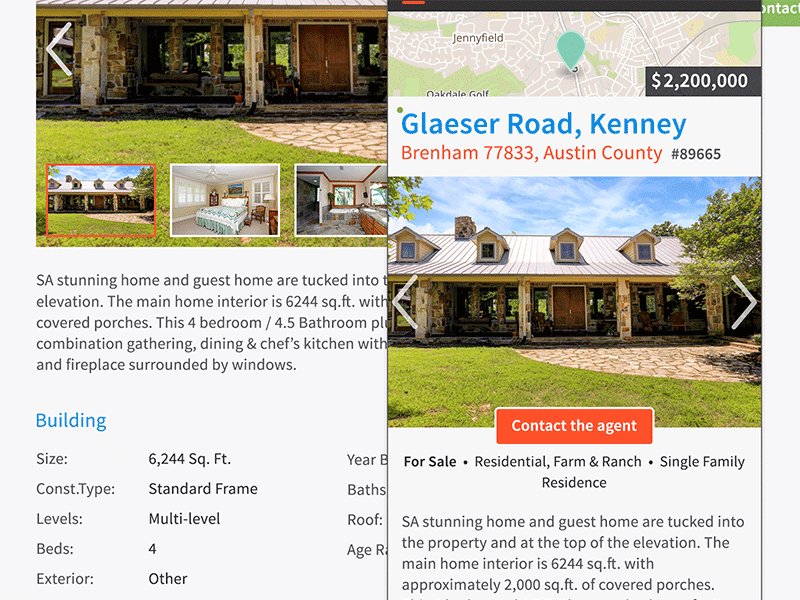 Screenshot of Property Listing Service mobile design.